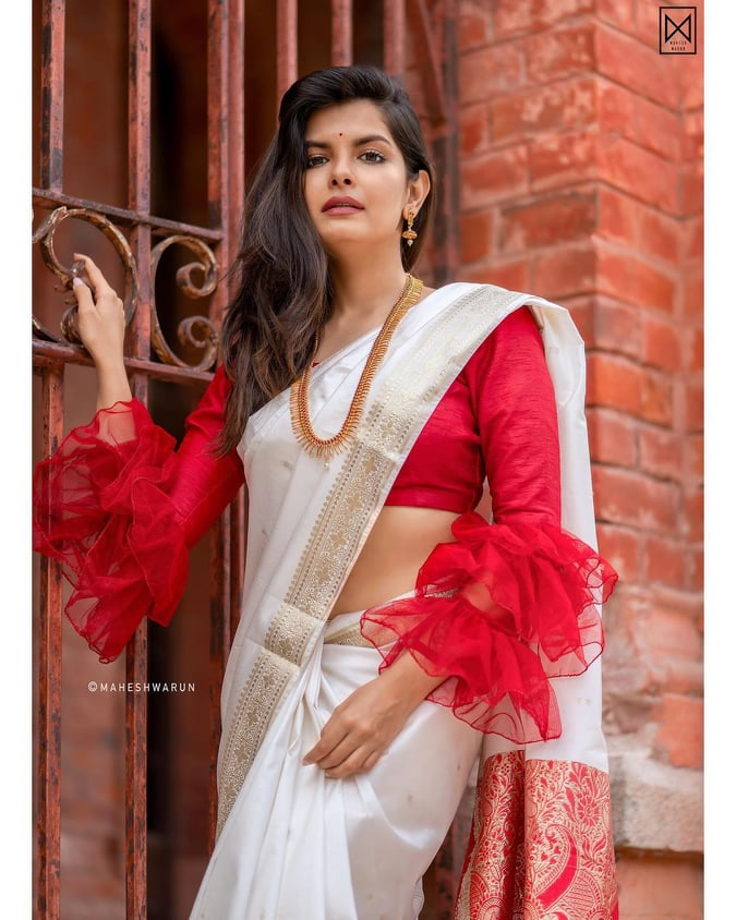 Ruffle Sleeves and Bell Sleeves Saree Blouse Designs