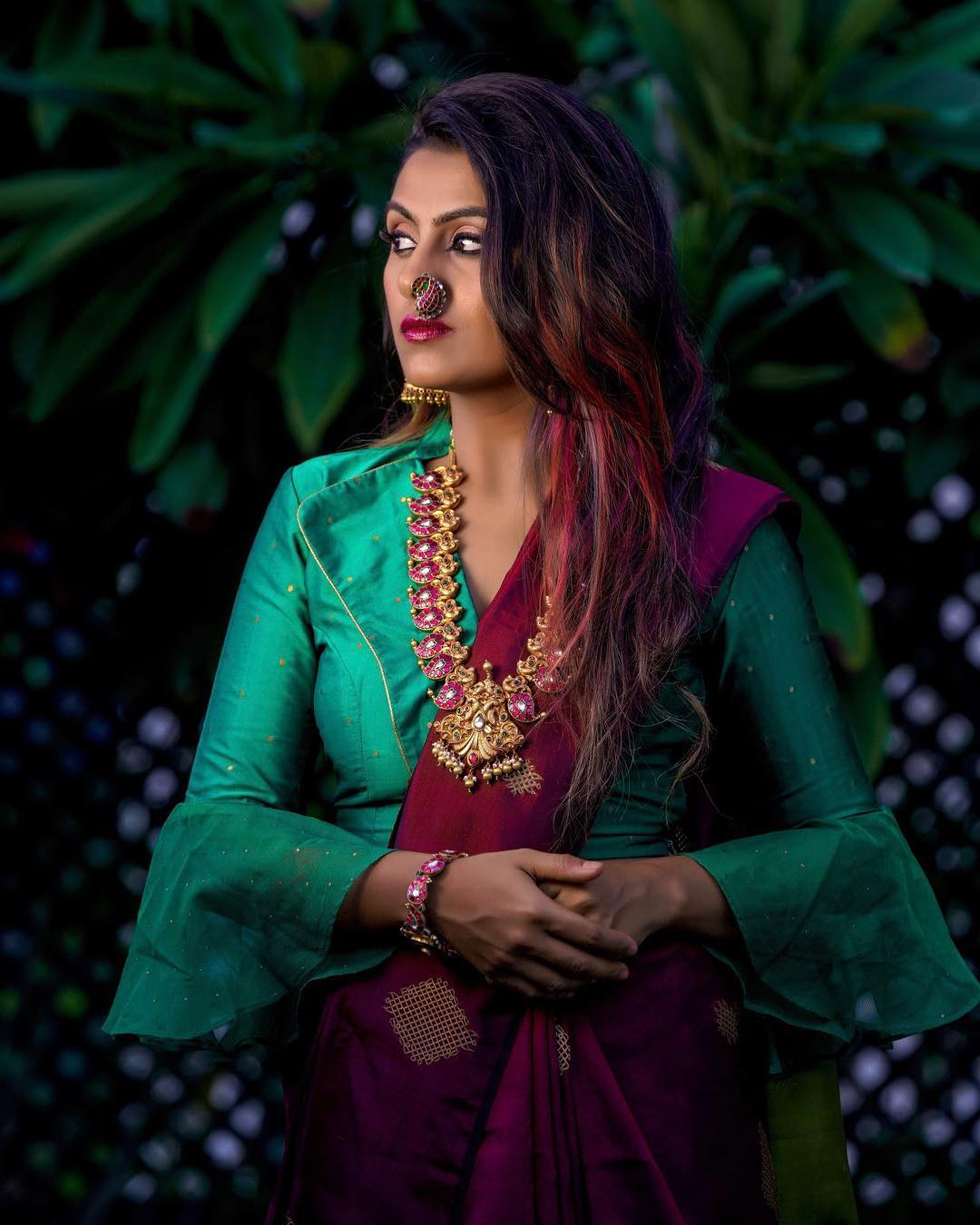 Stand Color Blouse Designs : Latest trending silk saree blouse design update