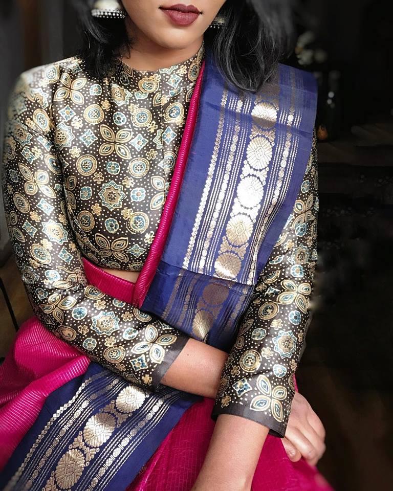 silk saree designer blouse