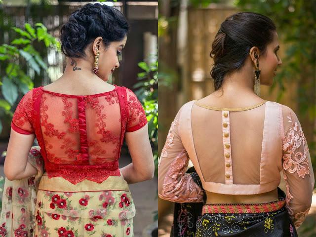 sheer back neck blouse designs