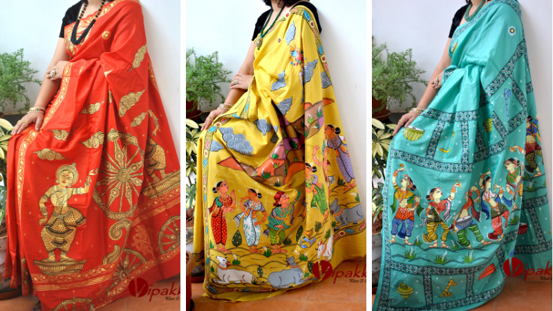 Hand Painted Pattachitra Saree