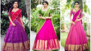 Ethnic And Stylish Half Saree Designs For Wedding Ceremony Tikli